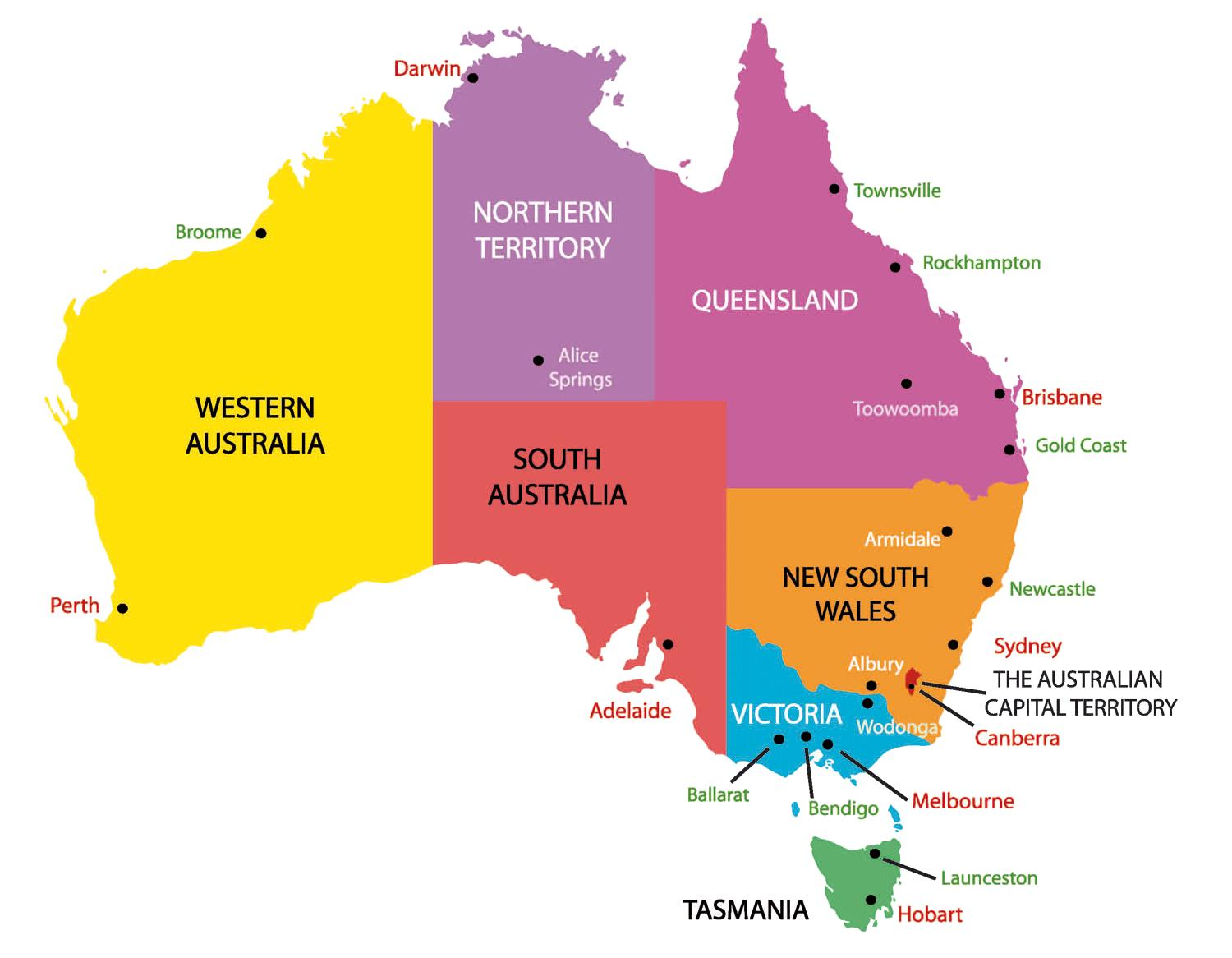 Australia Map States And Cities.Australia Map With States And Cities Map Of Australia With States