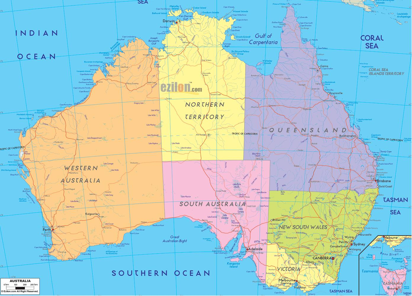 Australia political map - Political map Australia (Australia and New ...
