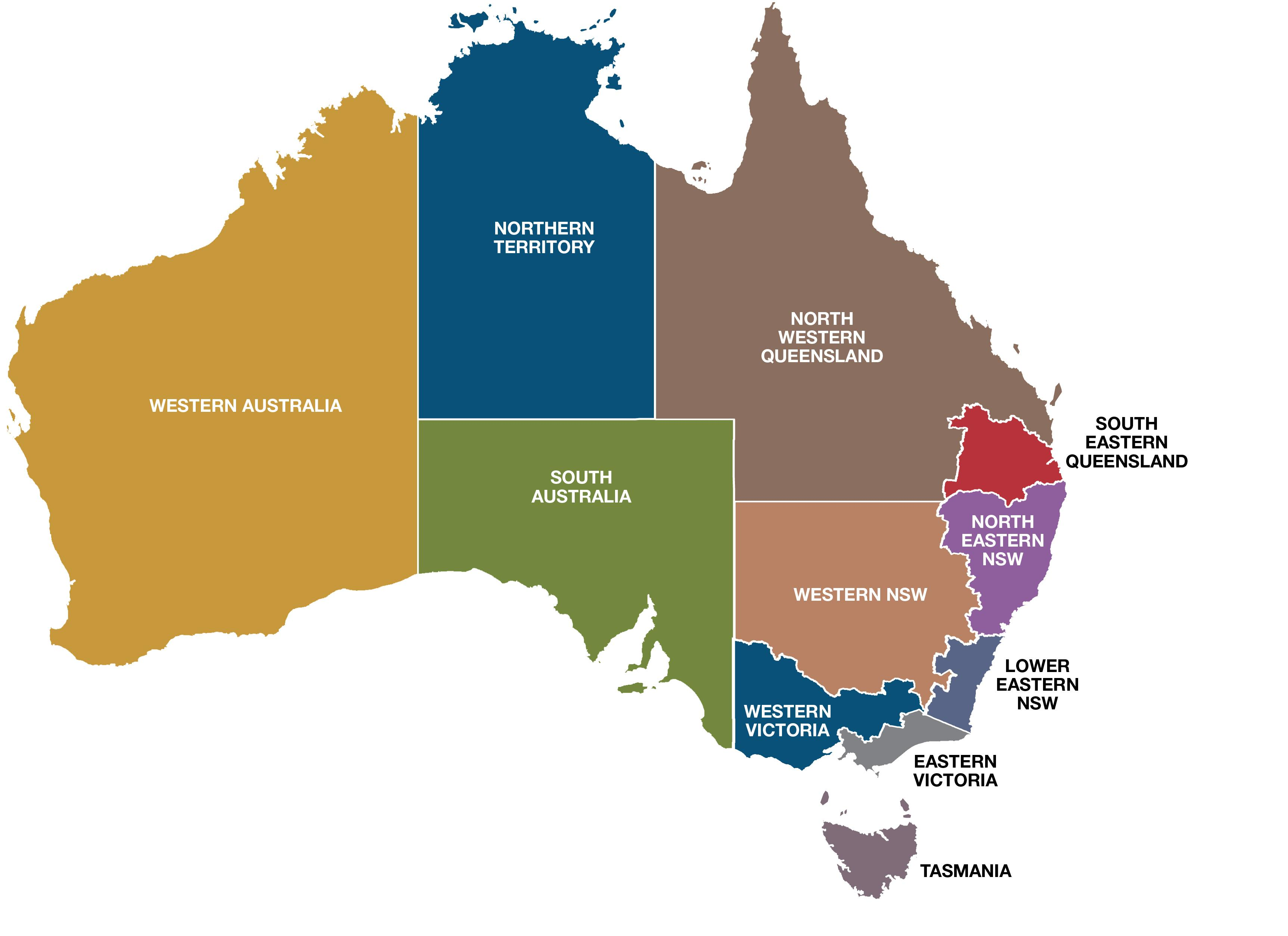 Map Of Australia New Zealand And Tasmania.Australia Regions Map Map Of Australia Regions Australia And New