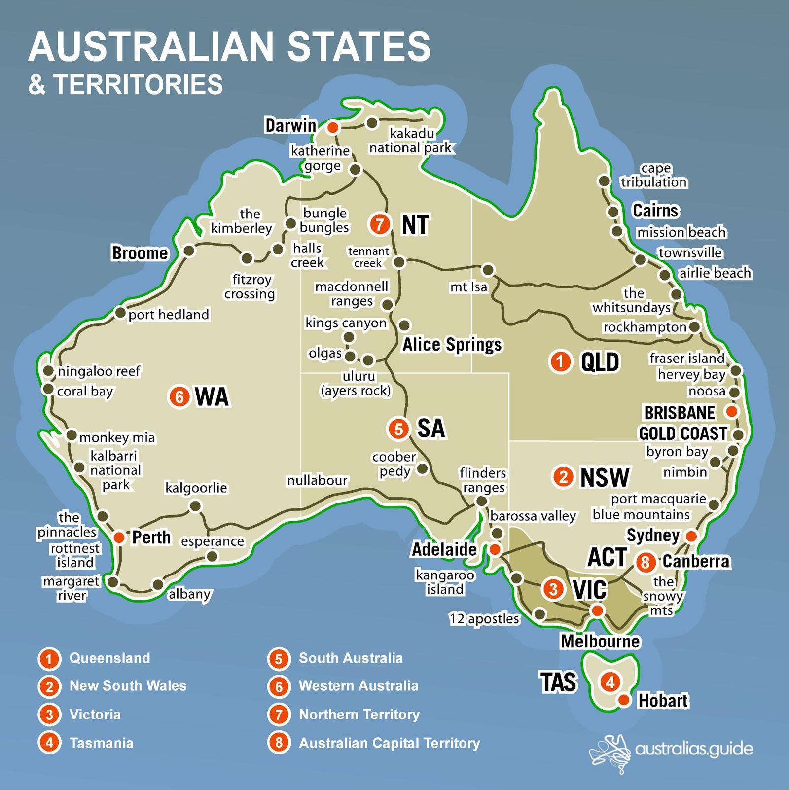 Australian map states - Map Australian states (Australia and New ...