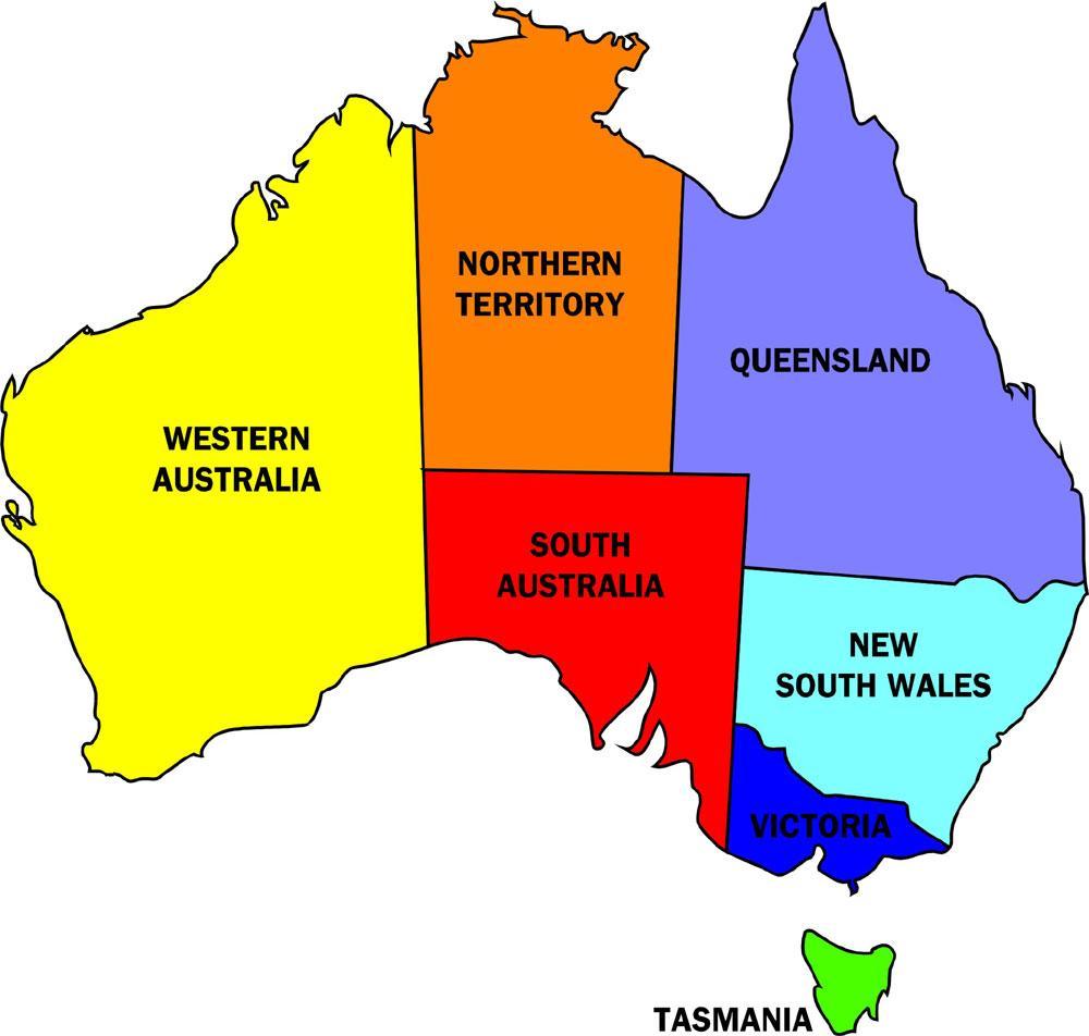 Australia Map New Zealand.Map Of Australia States States In Australia Map Australia And New