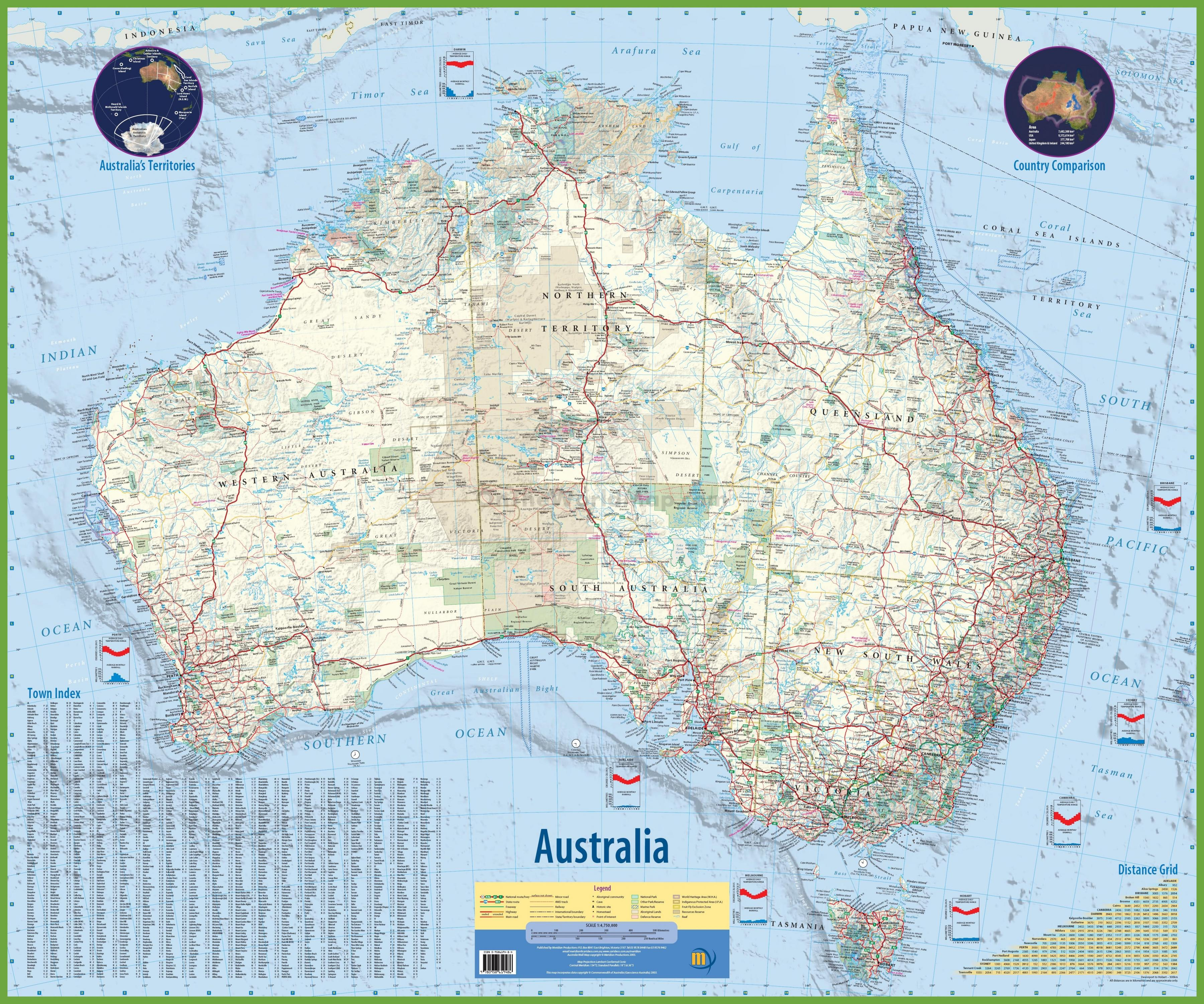 Map of Australia with towns - Map of Australia with cities ...