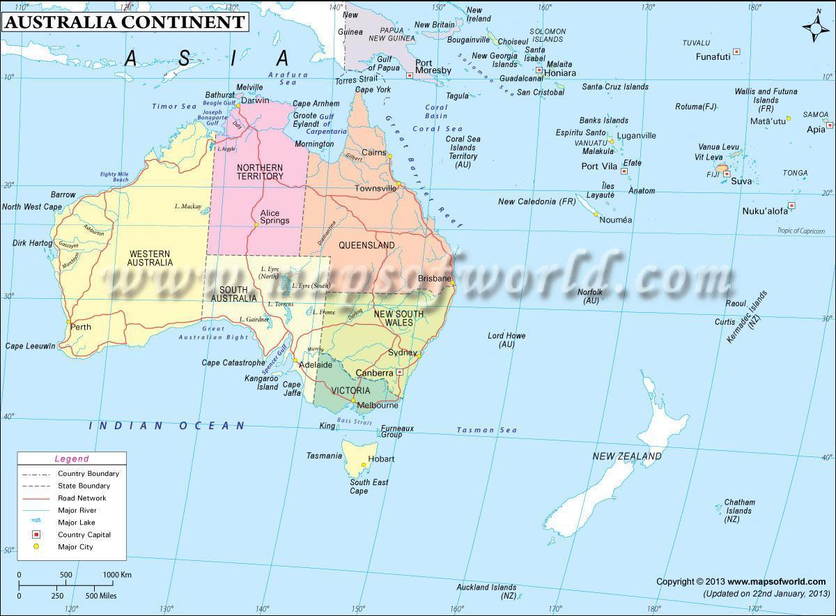 map of australia continent