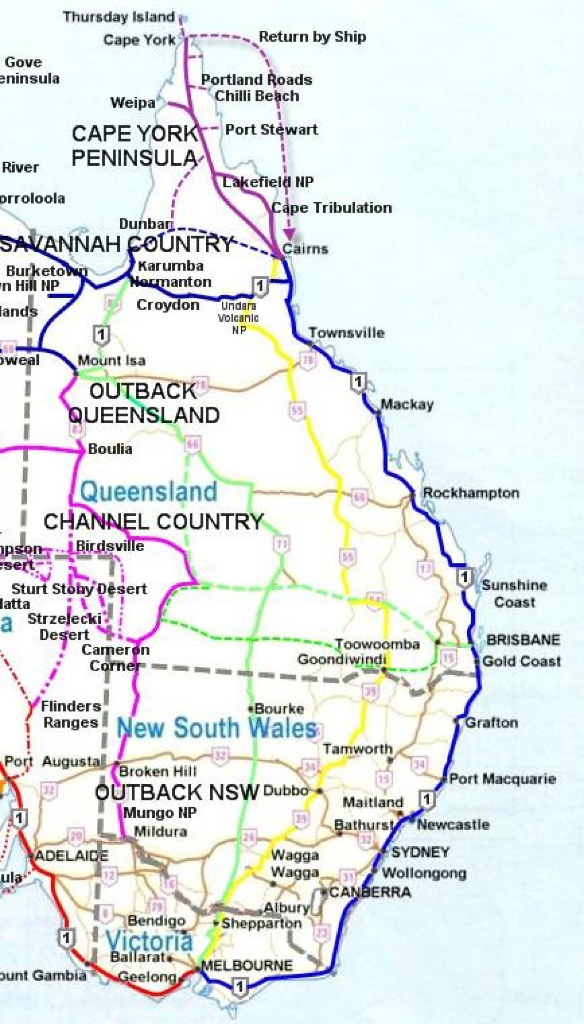 Australia map East Coast - Map of East Coast Australia ...