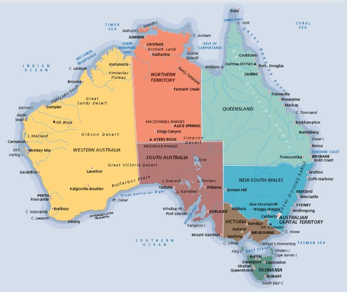 Australia New Zealand Map.Australia Map Labeled Labeled Map Of Australia Australia And New