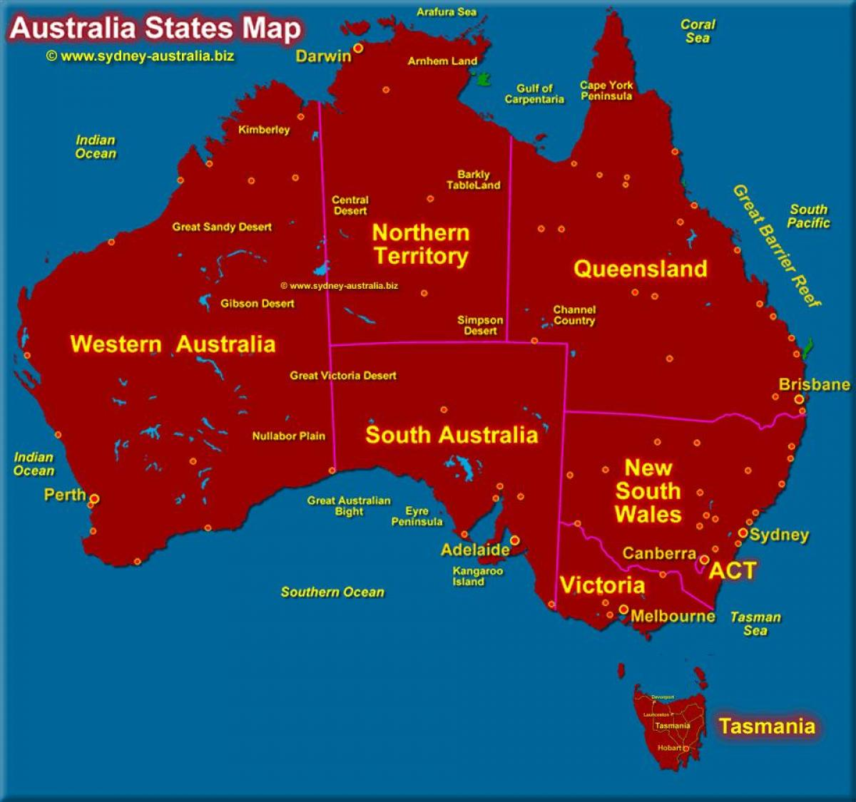 map of Australia showing states