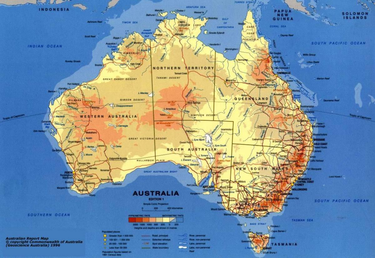 Australia Geographical Features Map.Australia Physical Features Map Map Of Australia Physical Features