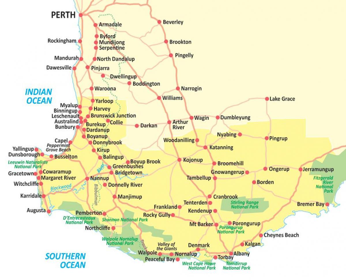 South West Australia Map.South Western Australia Map Map Of South Western Australia